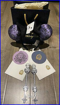 Disney Club 33 Haunted Mansion 50th Anniversary Minnie Mouse Ears Plus More