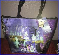 Disney Parks Harveys Haunted Mansion 50th Anniversary Shag Tote Bag New IN HAND