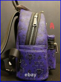 Disney Parks Haunted Mansion Wallpaper Purple Mini Backpack By Loungefly