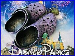New Disney Haunted Mansion Purple Wallpaper Crocs Adult M6/W8 Shoes In Hand