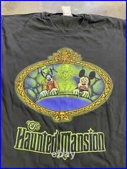 Vintage Disney Mickey Mouse The Haunted Mansion Ride Goofy Ghosts Shirt Size XL